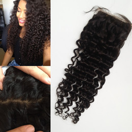 peruvian deep wave silk base closure Canada - G-EASY Peruvian Virgin human hair silk base closure deep wave curly hair soft touch fast shipping