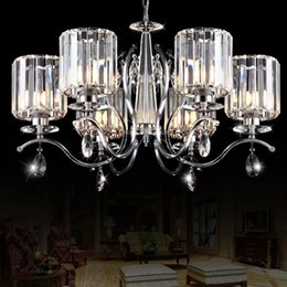 "modern 26 pendant NZ - Fashion Crystal Living Room Chandelier Luxury 6 Lights Study Room Hanging Lamp 26"" Dining Room Pendant Lights"