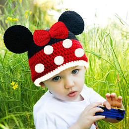 Wholesale New handmade kintwear Cotton Baby Hat Cute Cartoon with Big butterfly Bow and dot Cap BA472
