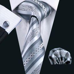 mens ties weddings 2019 - Tie Set for Men Gray Stripe Hankerchief Cufflinks Jacquard Woven Mens Tie Set Business Work Formal Wedding N-0589 cheap