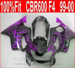 Honda Custom Parts Australia - Perfect Purple flame Body parts Injection molding for Honda custom fairings CBR 600 F4 1999 2000 fairing kit CBR600 F4 99 00 SEZY