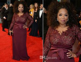 Discount cap sleeve mother bride dresses sale - 2016 Oprah Winfrey Burgundy Long Sleeves Sexy Mother of the Bride Dresses V-Neck Sheer Lace Sheath Plus Size Celebrity R