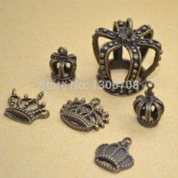 Cell Phone Jewelry Charms Canada - Wholesale mix 5*6pcs lots charm metal antique bronze pendant crown fit jewelry making z42422 jewelry care jewelry for cell phone