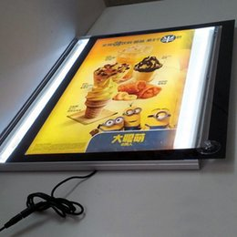 light box menu boards Canada - Fast Food Restaurant Indoor LED Illuminated Menu Board Ultra Slim 16MM Thickness A2 Lightboxes