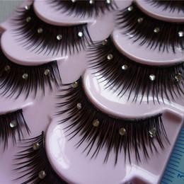 Eyelashes Glitters Canada - Wholesale 1 Box 5 Pairs False Eyelashes Acrylic Crystal Art Natural Length Long Fake Eye Lashes Beauty Makeup Tips Thick False Eyelashes