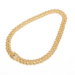 triple chains Canada - Men 13mm Width Large Cuban Chain 18K Gold Plated Hip Hop Full Bling Cubic Zirconia Necklace Top Quality Triple Lock Necklaces Copper Jewelry
