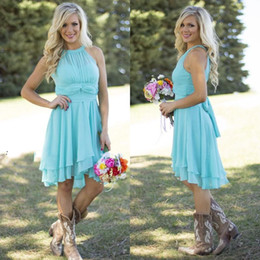 Discount turquoise wedding dress beach - 2019 Hot Sale Country Style Turquoise Bridesmaid Dresses Crew Neck Ruffled Chiffon Mini Dress Beach Wedding Party Maid O