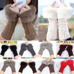 Free UPS Ship 2016 Mulheres Lady Winter Knitted Fingerless luvas mulher adulta Faux Coelho Fur Wrist Hand Warmer Luvas Mitten 10colors escolher