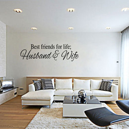 friends decor Canada - Best Friends for Life Husband & Wife Wall Quote Decal Sticker English Monogram Wall Saying Decor Art Living Room Bedroom Wall Mural Graphic