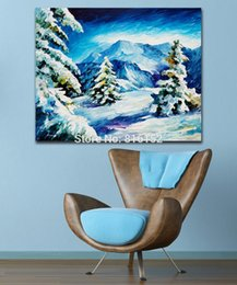 $enCountryForm.capitalKeyWord Canada - Modern Palette Knife Oil Painting The Snow Mountain Winter Scenery Painting Printed on Canvas for Living Room Bedroom Wall Decor