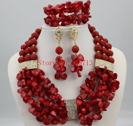 Indian Coral Beads Australia - Splendid African Beaded Coral Jewelry Set African yellowcrystal and stone Beads Jewelry Set for Wedding NEW HD306-3