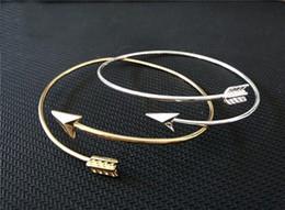Discount wholesale fashion friendship bracelets - 2016 Fashion Women Jewelry Gold Plated Metalwork Fashion Friendship Jewelry v Dainty Arrow Chain Bracelet golden silver