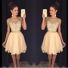 beautiful sexy short party dresses NZ - Beautiful Beads 2018 Sheer Short Gold Prom Dress cheap Scoop Neck Party dresses Sequins Tulle Skirt Short Homecoming Dress Ball