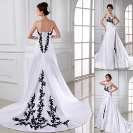 Romântico preto e branco vestido de noiva a linha de cetim trem de varredura lace up 2015 vestidos de noiva vestido de noiva ocidental baratos vestidos de noiva eua venda por atacado