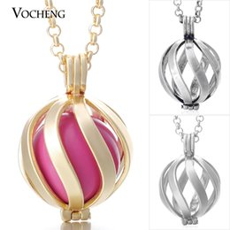 locket chain metal Canada - Baby Chime Cage Locket Box Necklace 3 Colors Brass Metal Maternity Necklace with Stainless Steel Chain VA-049