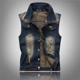 China Fall-Fashion Mens Denim Vest Sleeveless Jeans Waistcoat Man Cowboy Ripped Holes Jacket US Size XXS-L Tank Top Veste Homme cheap jean vest mens suppliers