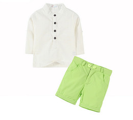 Clothing single pieCes online shopping - Summer clothing children suit boys fashion suit white shirt green short pants kids outfits Y set l