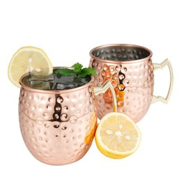 moscow mule mugs 16oz stainless steel copper plated cups cocktail beer cool drinking cups beverage wine glasses