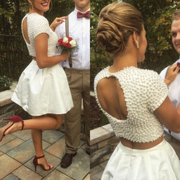 Silver Gray Taffeta Skirt NZ - Exquisite 2017 White Pearls Top Taffeta Skirt Two Pieces Short Prom Dresses Modest Party Homecoming Gowns Custom Made EN11026