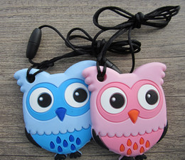 $enCountryForm.capitalKeyWord Canada - New Owl Pendant Necklace Silicone Teething Toy Food Grade Animal Teether Beads Baby Chewable Nurse Gift 4 Colors
