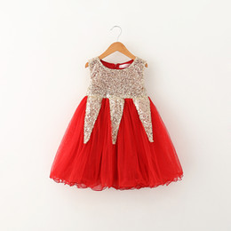 $enCountryForm.capitalKeyWord UK - Baby Girls Clothes Lace Tutu Dresses Fashion Childrens Prubcess Sequins gold Dresses for Kids Clothing 2015 Summer Party Dress CY3061