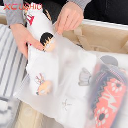 Flattering Clothes Canada - Wholesale- 4pcs lot Thicken Travel Storage Bag Organizer Cosmetic Shoe Clothes Clothing Underwear Storage Bag Clear Seal Ziplock Bag Case