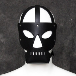Masques De Cuir Sexy Des Yeux Bandés Pas Cher-BDSM Fetish Head Harnais Masque Hood Sex Slave Game Bondage Face Blindfold Adulte Protection sexuelle Gear Faux Leather PVC Sexy Produit
