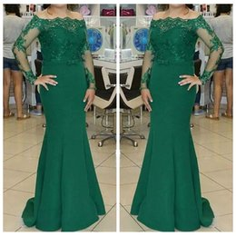 Barato Vestido De Noite Verde Escuro Sequin-Dark Green Manga comprida Lace Mermaid Evening Dress Beading Sequins Long Sweep Train Custom Women Formal Special Occasion Party Gowns