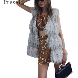 Barato Coletes Luxuosos Da Pele Do Falso-Preself New Luxo Faux Fur Vest Jacket Sem mangas Warm Coat Waistcoat Long Outwear q171118