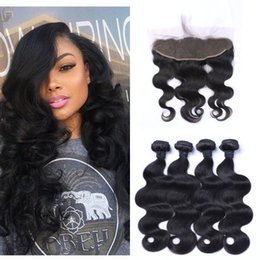brazilian human hair 28 inches 2019 - Lace Frontal And Bundles Indian Human Hair Extensions 8-30inch Virgin Body Wave Hair Weaves Closure G-EASY cheap brazili