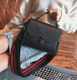 factory outlet handbags Australia - Factory outlet brand handbag new winter leather handbag Korean retro stripes wide straps small package fashion color single shoulder bag