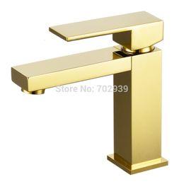 Бесплатная доставка золото pvd soild латунь ванная комната раковина квадратный кран современный кран смеситель одно отверстие палубе установлен