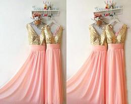 $enCountryForm.capitalKeyWord NZ - Best Quality Sequined Chiffon Shiny Long Bridesmaid Dresses Cheap Prom Evening Ruffles Sleeveless Custom Vestidos Trendy Bridesmaid Dress