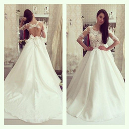 organza lace fabric wedding dress 2019 - Vintage Half Sleeve Sheer Appliqued Wedding Dresses 2015 Jewel Backless Bow Sash Organza Fabric Chapel Train Hot Bridal