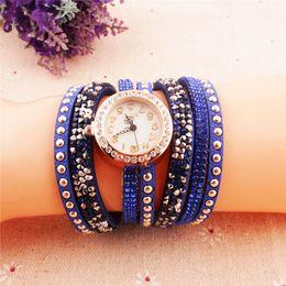 Watch Long Bracelet Canada - Crazy Digital Watch Hot Buy! Korean Fashion New Dress Retro Ladies Bracelet Watches Woman Casual Knit Long Leather Rhinestone Quartz Watch
