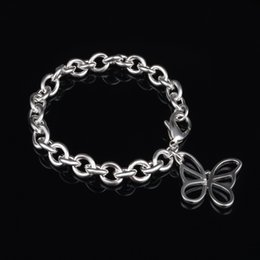 butterfly gift sale Canada - Free Shipping with tracking number fashion Top Sale 925 Silver Bracelet Hollow butterfly Bracelet Silver Jewelry 10Pcs lot cheap 1811