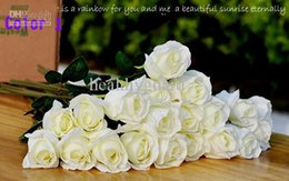 $enCountryForm.capitalKeyWord Canada - 50CM length Artificial Rose Silk Craft Flowers Real Touch Flowers For Wedding Christmas Room Decoration 5 Color Cheap Sale