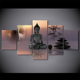 art canvas prints Australia - 5 Panel Framed HD Printed Zen Buddha Statue Menditation Poster Canvas Oil Painting Wall Pictures For Living Room Arts