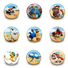 kids plastic bags 2019 - 9pcs+ Rio 2 Pins Badges Cartoon 3.0CM Round Brooches Fashion Accessory Buttons Badges Bags Hats Decor Kid Gift Party Fav
