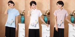 $enCountryForm.capitalKeyWord Canada - Shanghai Story Chinese Style Cheongsam Top lotus print Women Vintage Shirt Ladies Tang Suit Top Linen Blouse 3 color 2375