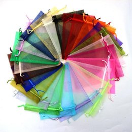 Sacs À Prix Avantageux Pas Cher-Dépêchez-vous !!! 50pcs / lot 11x16cm Mixed Color Organza Bags Christmas Wedding Favor Gift Sacs Tulle Jewelry Candy Pouches Cheap Sale