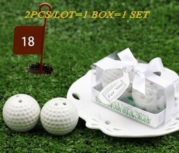 $enCountryForm.capitalKeyWord NZ - 2pcs lot=1box=1set 2017 Newest Wedding and Party Favors A Leisurely Game of Love Golf Ball Salt and Pepper shakers Wedding gift