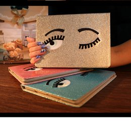 Discount tpu ipad waterproof - 5 Colors Smart Tablet PU leather Case Glitter Big eyes ultrathin flip full covers with tpu inner for ipad