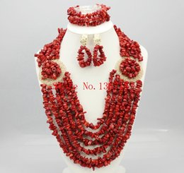 Indian Coral Beads Australia - 2016 Latest African Wedding Coral Beads Jewelry Set African Nigeria beads jewelery Sets for Free Shipping HD601-2