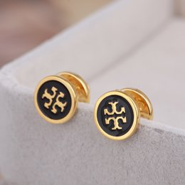 Discount black gold filled jewelry - Top quality Brand name enamel colors Stud Earring in 1.0cm for women wedding earring in black white blue red jewelry gif