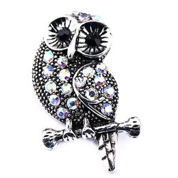 Vintage Silver Bangle Bracelet Stones UK - 10Pcs Big Vintage Crystal Owl Snap Buttons with Stone Antique Silver 18mm Alloy Buttons Jewelry Fit DIY Snap Bracelets Bangles