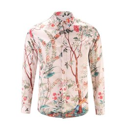 Chinese Floral Paintings UK - Autumn and Winter Chinese Style Men 's Shirt Casual Fashion 3D Painted Flowers and Trees Pattern Digital Printing Long - sleeved Shirt