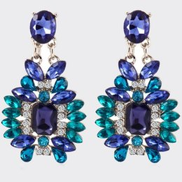 Robe Femme Strass Pas Cher-Fashion Blue Crystal Stud Earrings Pour Femmes 2015 Nouvelle Marque High Quality Nouvelle Femme Boucles D'oreilles Strass Dress Gift Stud Earring