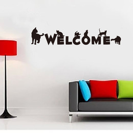 word stickers for walls NZ - Black Cat Wall Art Decal Sticker English Words Welcome Store Door Window Decoration Wallpaper Decal Poster Creative Glass Window Decor