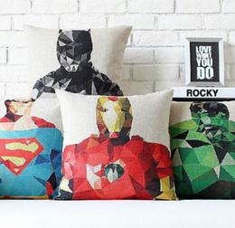 Batman Superman Capitan America Iron Man Thor Hulk Avengers supereroi in cotone lino tiro cuscino copertura / decorazioni per la casa in Offerta